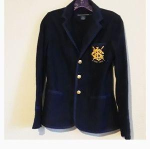 RALPH LAUREN SPORT Crest Navy Cotton Blazer